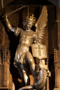 A statue of St. Michael holding a sword from Le Mont St. Michel in France.