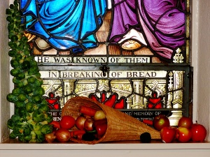 """Cornucopia, apples, and Brussels Sprouts in the """"He was known to them in the breaking of the bread window"""""""