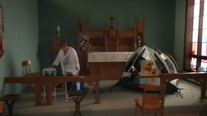 The chapel being prepared for Christmas.
