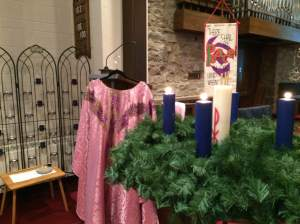 The Rose-coloured chasuble beside the Advent wreath